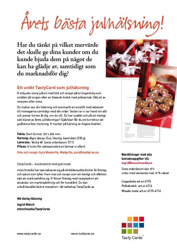Julkort att sälja eller ge bort – med vackra matbilder och recept
